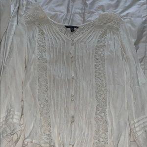 White lace button down shirt